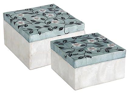 Set de 2 Cajas Decorativas, Capiz, Azul y Blanco, 17 x 17 x