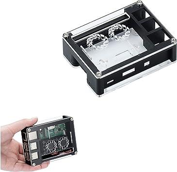 ILS - Negro acrílico Caja Doble Soporte Ventiladores refrigeración para Raspberry Pi Junta 3B +: Amazon.es: Electrónica