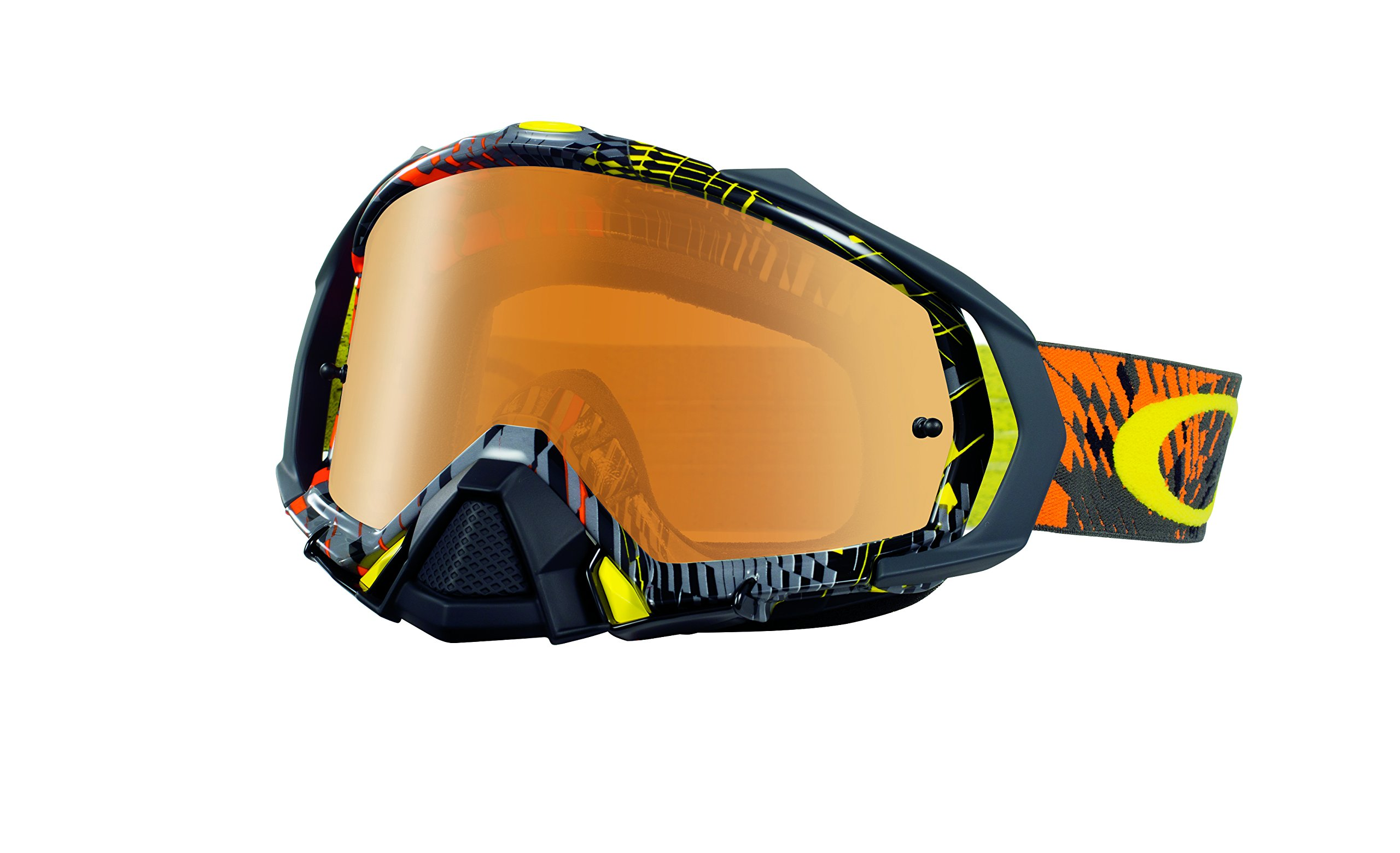 Oakley Mayhem Pro Podium Check Goggles (White Frame/Fire Iridium Lens)