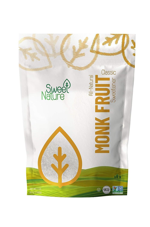 Sweet Nature Monk Fruit Sweetener, Classic - Non GMO - Gluten Free - Sugar Substitute - Kosher - Keto Friendly (3 lbs), 48 Ounces