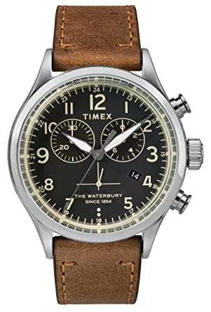 4aa197213 Image Unavailable. Image not available for. Color: Timex Waterbury Black  Dial Leather Strap Men's Watch TW2R70900