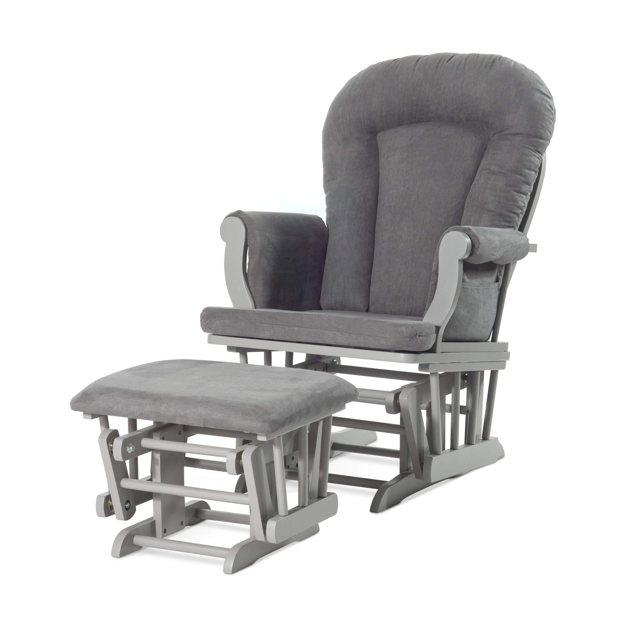 Forever Eclectic by Child Craft Cozy Glider and Ottoman, Cool Gray with Dark Gray Cushion by Childcraft