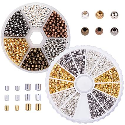Multicolor Tube Crimp Beads Round Spacer Beads 2 boxes Mixed Bracelet Loose Beads for Jewellery Making
