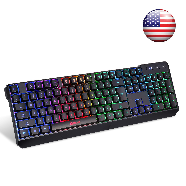 KLIM Chroma Wireless Gaming Keyboard - USB with Led Rainbow Lighting - Backlit, Ergonomic, Quiet, Water Resistant - Black RGB PC Windows PS4 Mac Keyboards ...