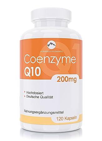 Cápsulas de coenzima Q10 de Alparella Elements - 120 cápsulas - 200 mg concentrado - Hecho en Alemania