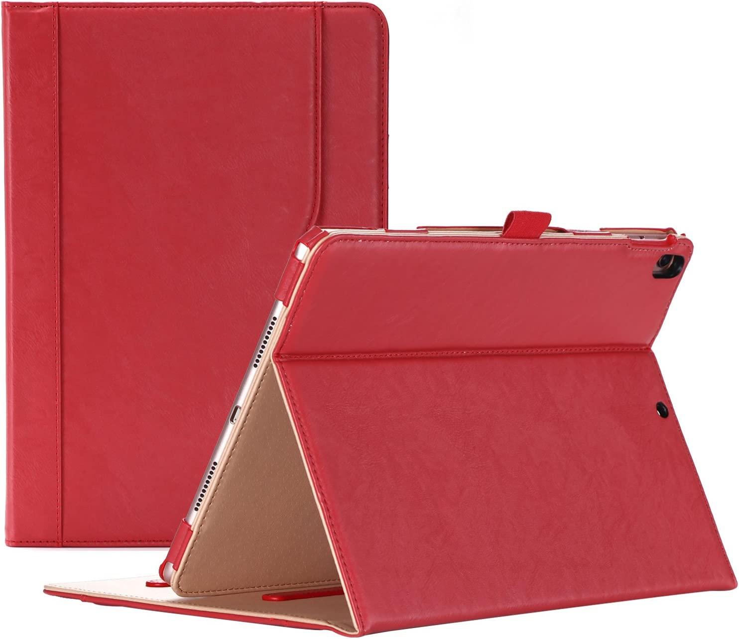 "ProCase iPad Air (3rd Gen) 10.5"" Case 2019, Vintage Stand Folio Case Cover for Apple iPad Air (3rd Gen) 10.5"" 2019 and iPad Pro 10.5 2017, Multiple Viewing Angles, with Apple Pencil Holder - Red"