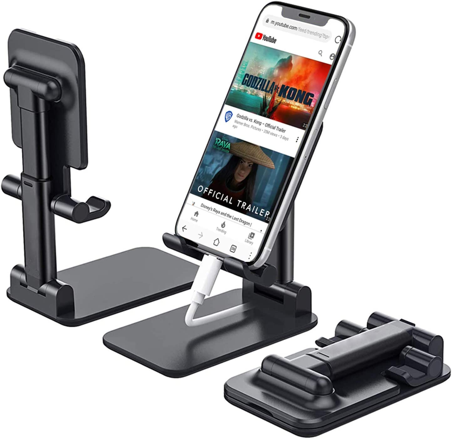 Cell Phone Stand, Angle Height Adjustable Cell Phone Stand for Desk, Foldable Cell Phone Holder, Cradle, Dock, Tablet Stand, Case Friendly Compatible with All Mobile Phone/iPad/Kindle/Tablet