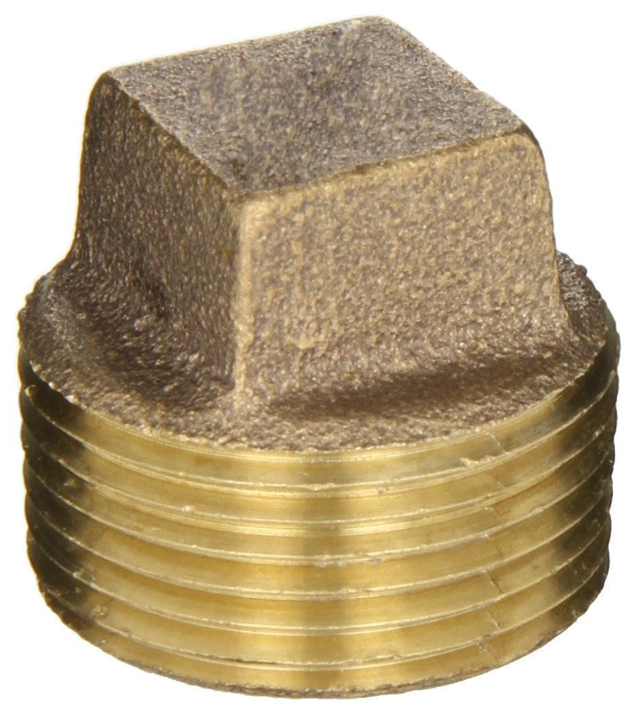 Anderson Metals 38109 Red Brass Pipe Fitting Cored Plug 1 Male Pipe 1 Male Pipe 38109-16