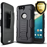 Nexus 6P Case, Starshop [Heavy Duty] Dual Layers Kickstand Case with [0.33m 9H Tempered Glass Screen Protector Included…