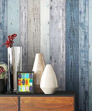 NEWROOM Papier peint bois bleu poutre en bois bois maison de ...