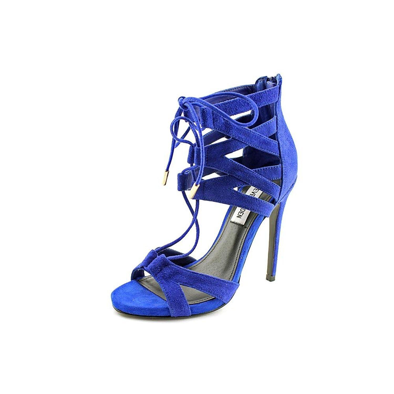 disfruta el precio más bajo amplia selección zapatos para baratas Buy Steve Madden Womens Maiden Leather Open Toe Special, Blu Suede ...