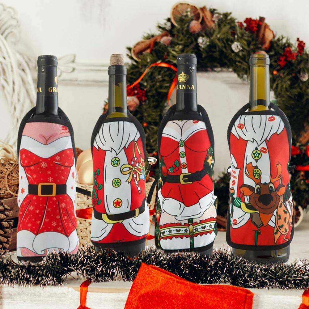 4Pcs Christmas Wine Bottle Covers  Mini Christmas Apron Bottle Cover Bag Set for Home Dinner Holiday Party Table Decoration  Xmas Ornaments  Dress up Wine Bottle