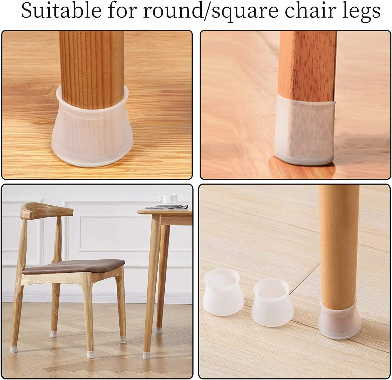 3-4.5cm 32 Pieces Chair Leg Caps Floor Protectors Anti-Slip Table Feet Cover Floor Silicone Furniture Cups Pads Prevents Scratches Noise and Without Leaving Marks Fit Round 1.18 to 1.77