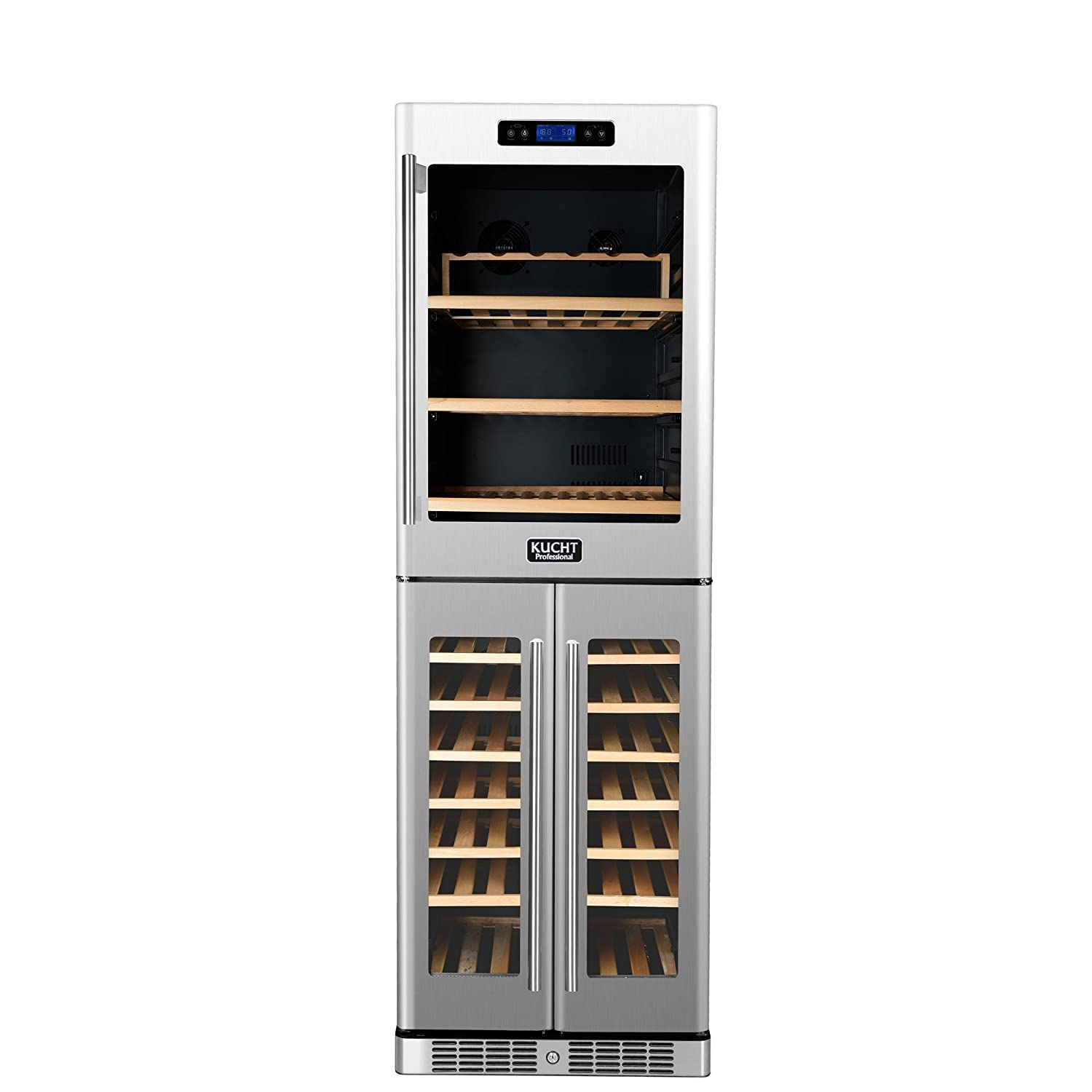 Kucht K430AVH33 121-Bottle Triple Zone Wine Cooler Built-In with Compressor, Stainless Steel Kucht Appliances