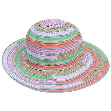 1deb0404b13 Amazon.com   WoAo Summer Women Lady Wide Brim Rainbow Stripes Foldable Beach  Canvas Sun Hat Cap   Beauty