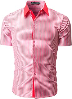 Chemises Homme Chemises BoutonnéEs Chemise à Manches Courtes Casual Fashion Fashion Stripe Color pour Hommes HCFKJ - MS