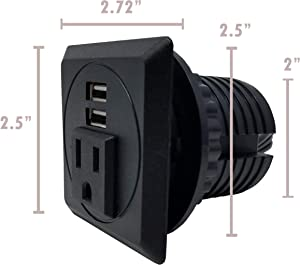 """Desktop Power Grommet Outlet Data Center, 2""""- 2.5"""" Hole No Drilling Required, 1 Outlet W/ 2 USB Charging (Black - Square - Fit 2"""" - 2.5"""" Hole -DC-8189)"""