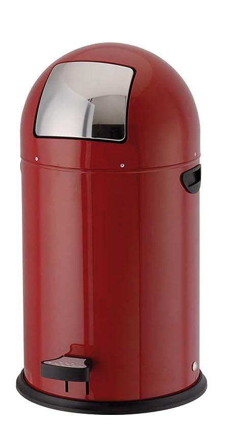 40 litros RETRO de acero inoxidable y rojo KITCHEN cubo de ...