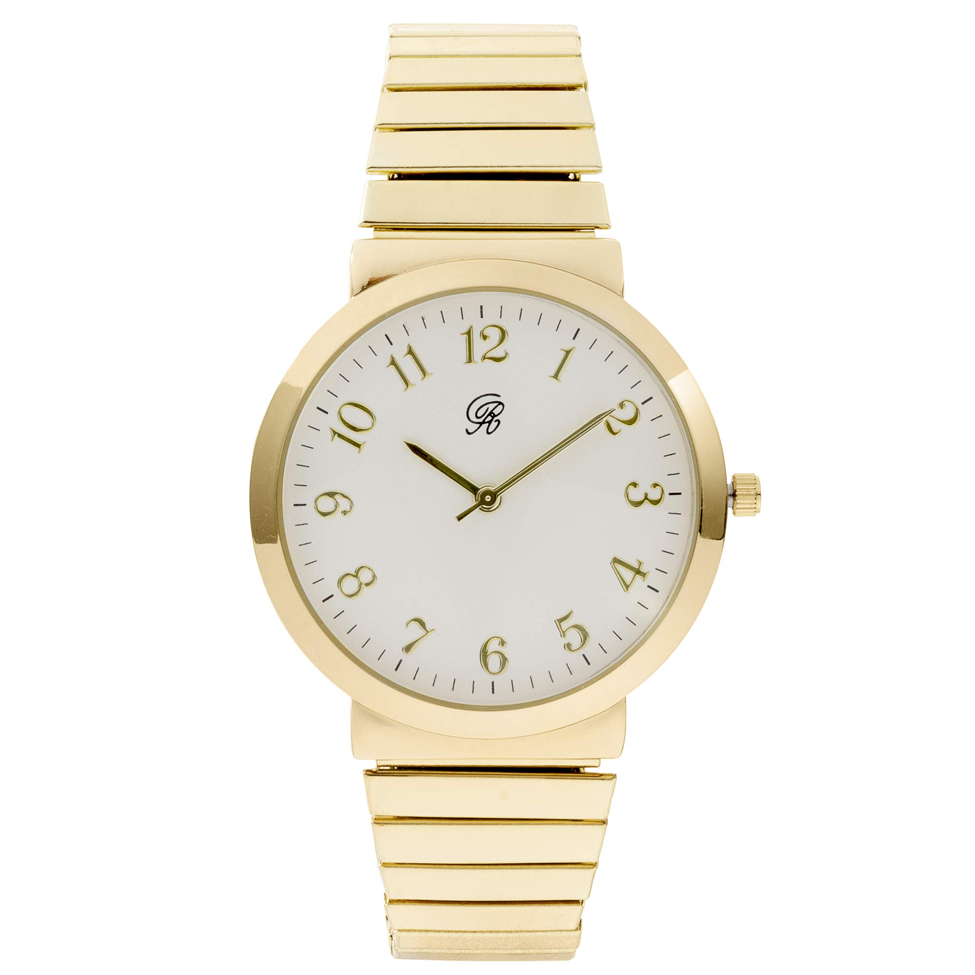 Unisex Gold Stretch Band Classic Easy Reader Watch with Clear Gold Arabic Numbers on Dial Medium Size Face - 8197 Gold