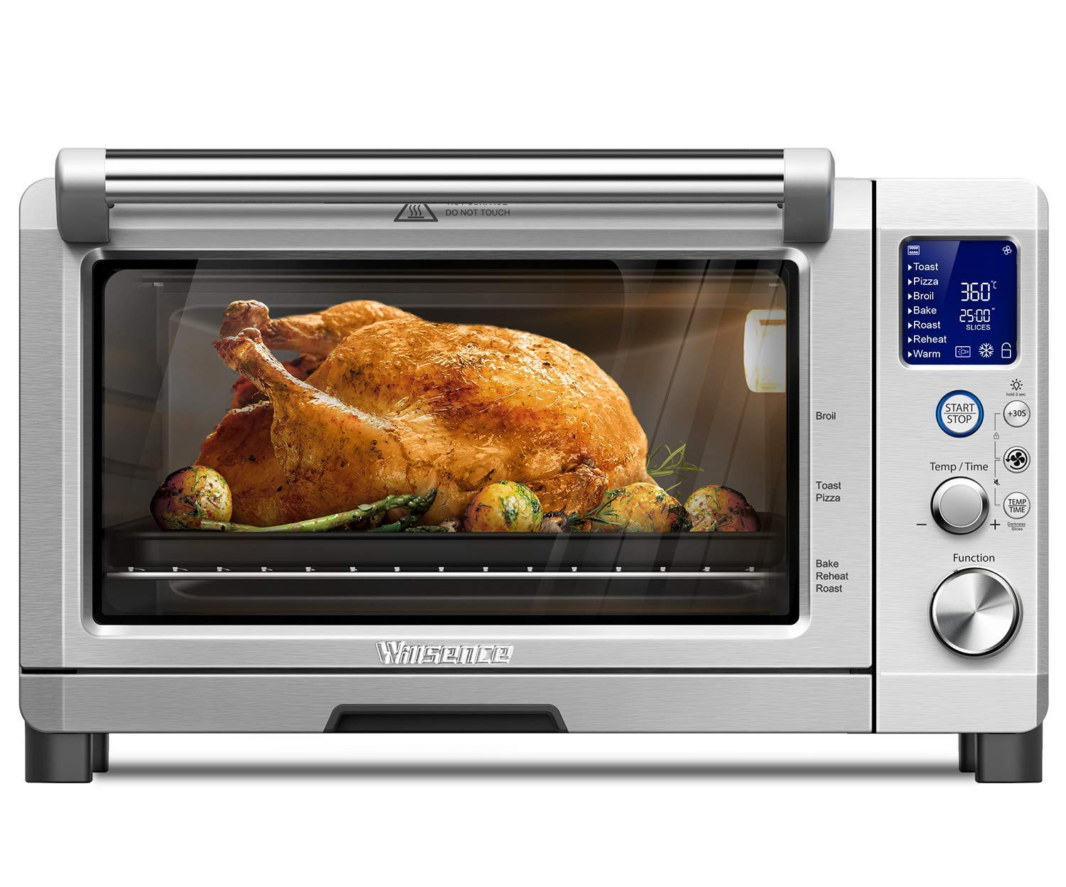 Toaster Oven 4 Slice, Utility Convection Toaster Oven for Evenly Toast/Bake/Broil/Roast, Convenient Digital Function Display with 1600W Efficient Heating, Includes Toast Rack and Baking Pan