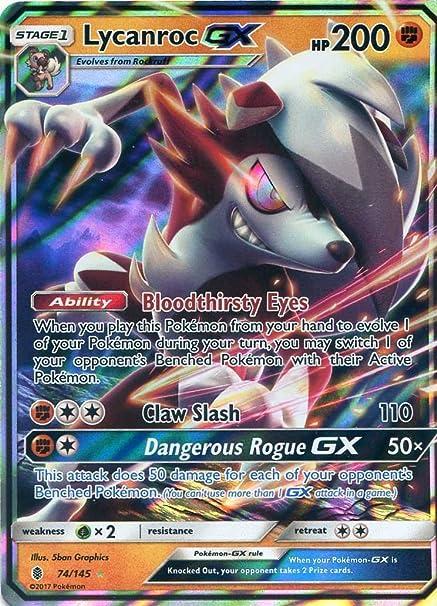 Pokemon Sun & Moon Guardians Rising Lycanroc GX 74/145 Holo card: Amazon.es: Juguetes y juegos