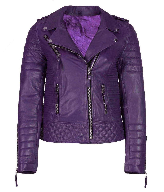 Le Craze Womens Genuine Lambskin Leather Purple Biker Slim Fit Jacket #LC88