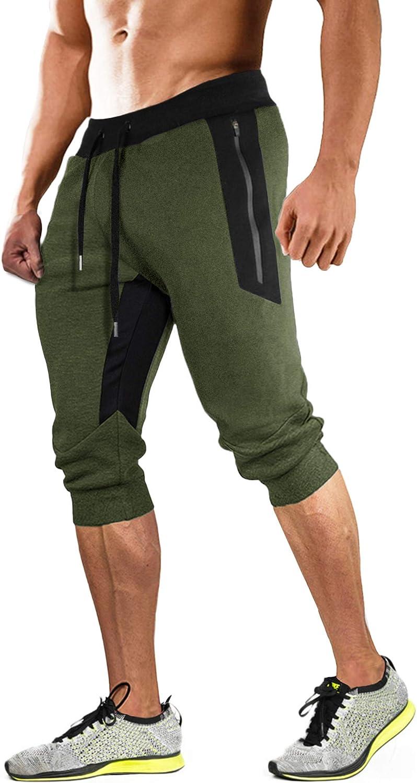 MAGCOMSEN Herren 34 Jogginghose Sommer Outdoor Kurze Hose Fitness Trainingshose Atmungsaktiv Capri Hosen Leicht Yoga Shorts mit Reißverschlusstaschen