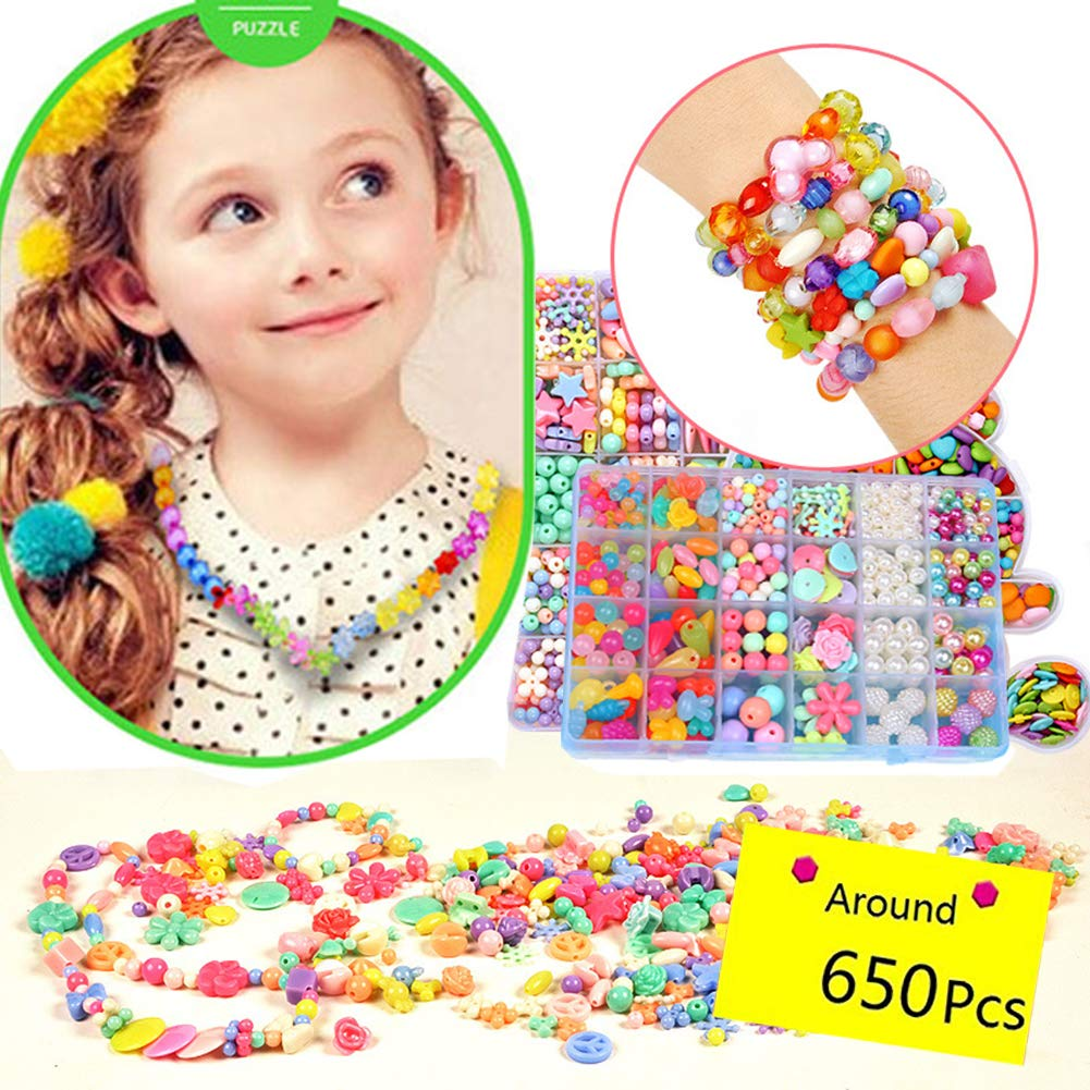 MeMo Toys DIY Beads Set with 24 Different Types and Shapes Colorful Acrylic Beads in a Box for Children Necklace and Bracelet Crafts by MeGaLuv Gift Kit for Kids