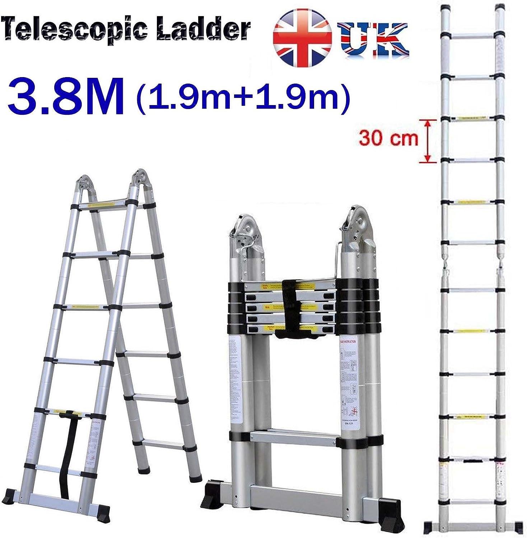 Autofaad, escalera telescópica multiusos plegable de aluminio, extensible en un marco de 6 + 6 peldaños 150 kg de carga Reino Unido Stock: Amazon.es: Coche y moto