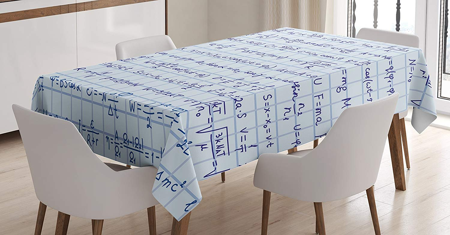 Happy Sunday Cotton Linen Fabric Blue Decor Tablecloth, School Decor  Science Theme Hand Written Physics Formula Lesson Notes Illustration,  Dining