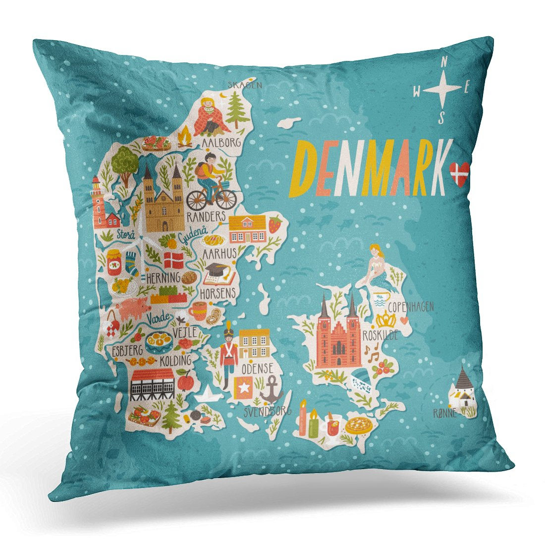 """Emvency Throw Pillow Cover City Map of Denmark Travel with Danish Landmarks People Food and Animals Copenhagen Decorative Pillow Case Home Decor Square 18"""" x 18"""" Pillowcase"""