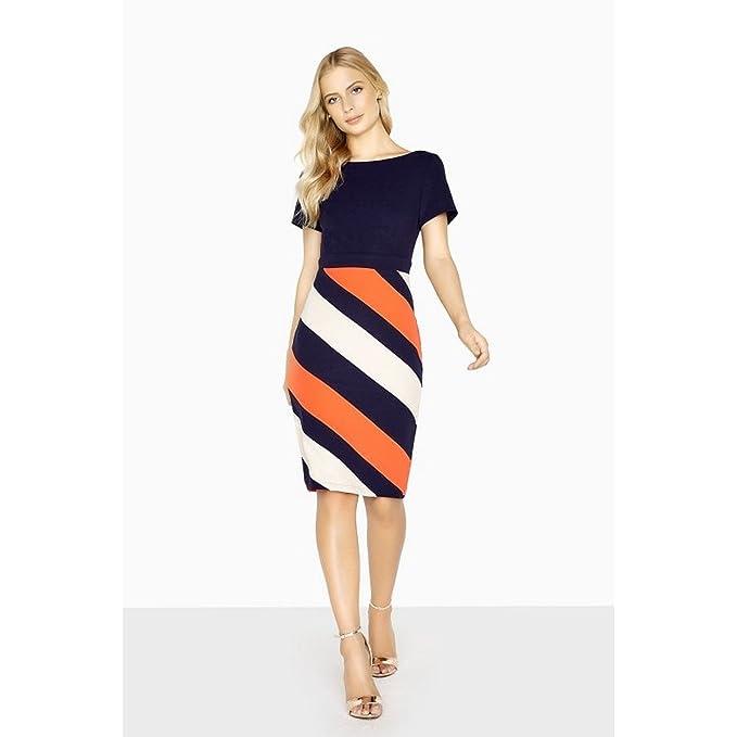 bfce4bd877e Paper Dolls Womens/Ladies Biarritz Diagonal Stripe Dress (4 US) (Navy/