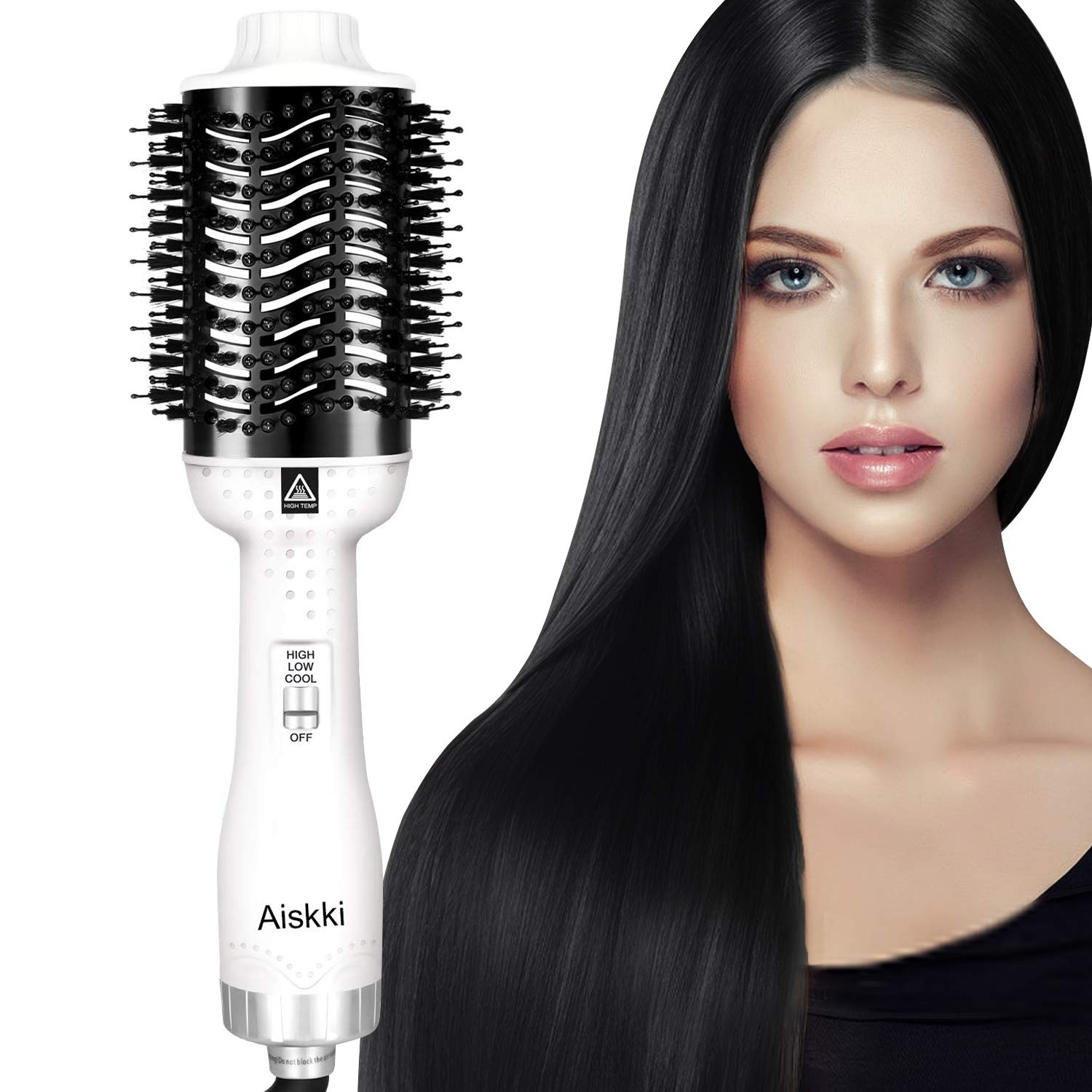 Aiskki Hot Air Brush, 5 in1 One-Step Hair Dryer And Volumizer,Multifunctional Blow Dryer Brush with Professional Negative Ion,Portable Anti-Frizz Hair Dryers Styler Brush Maker for All Hairs