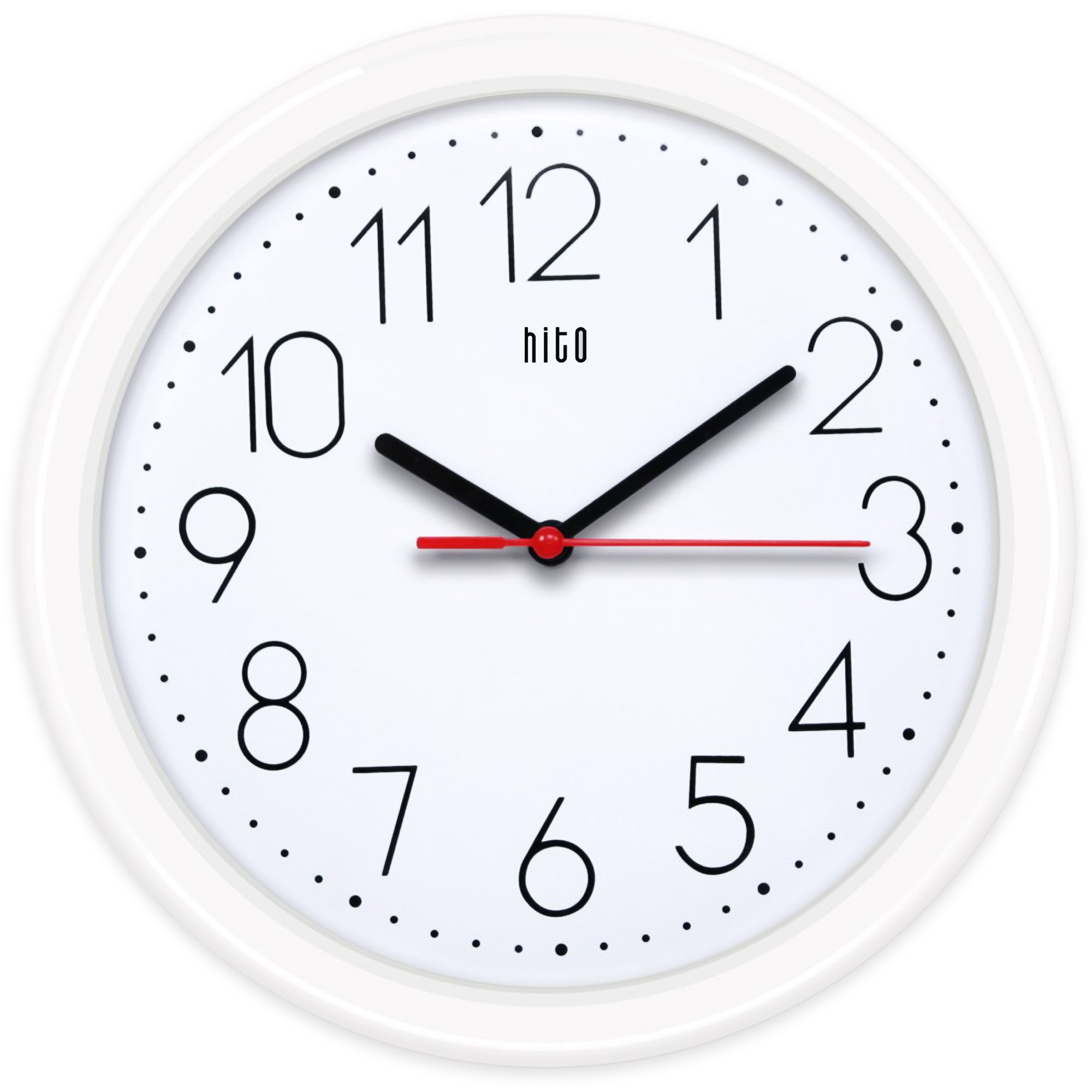 hito Silent Wall Clock Non ticking 10 inch Excellent Accurate Sweep Movement, Decorative for Kitchen, Living Room, Bathroom, Bedroom, Office (White)