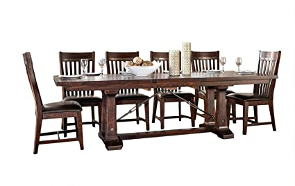 Intercon Hayden Rough Sawn U0026 Espresso 7 Piece Dining Set