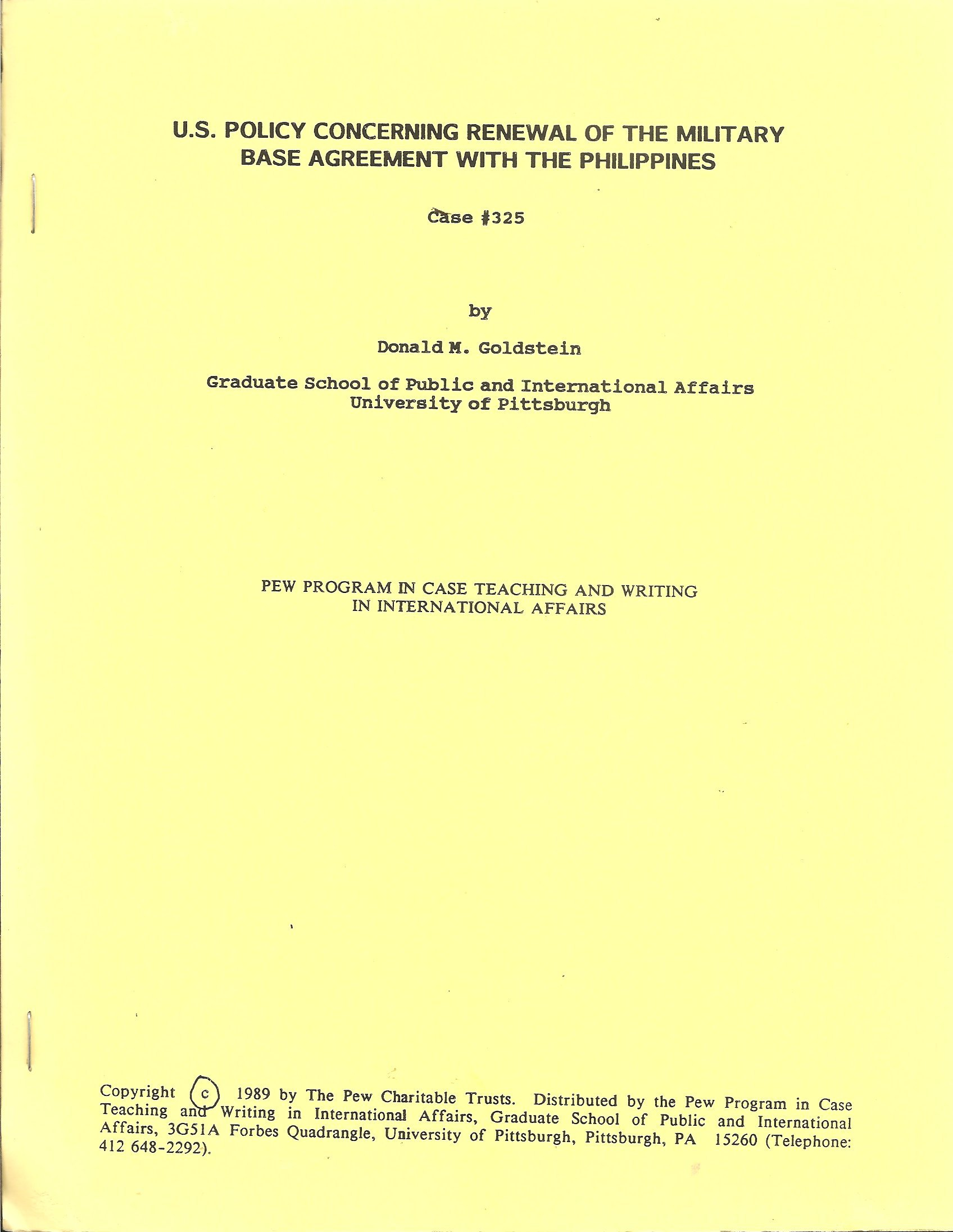 Us Policy Concerning Renewal Of The Military Base Agreement With