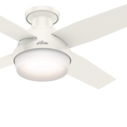 Hunter fan 44 contemporary low profile ceiling fan in fresh white hunter fan 44quot contemporary low profile ceiling fan in fresh white with led light kit aloadofball Image collections