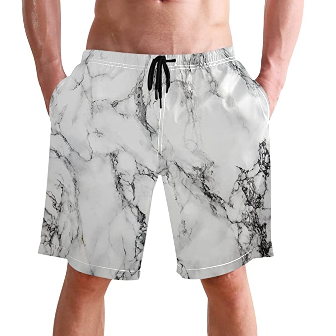 fbda4e911e Beach Shorts,Marble Printed Mens Trunks Swim Short Quick Dry with Pockets  for Summer Surfing Boardshorts Outdoor Water Sports: Amazon.co.uk: Clothing