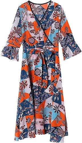 BINGQZ Casual Vestido Vestido de Crepe de Chine de Seda Primavera ...