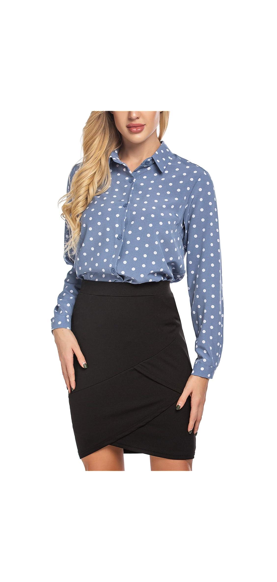 Women's Button Down Shirt Classic Fit Long Sleeve Dress