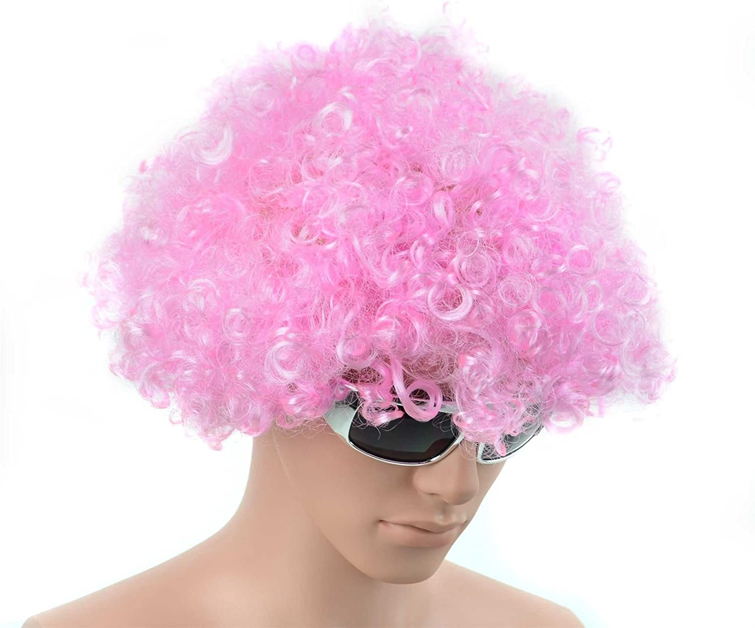 Pink Curly 70s Afro Wig Fancy Dress Party Costume Accessory Disco Clown Unisex