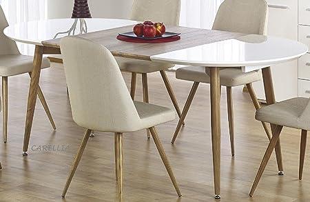 Tavolo Da Pranzo Ovale Con Design Allungabile 120 200 Cm X 100 Cm X 75 Cm Colore Rovere Miele E Bianco Amazon It Casa E Cucina