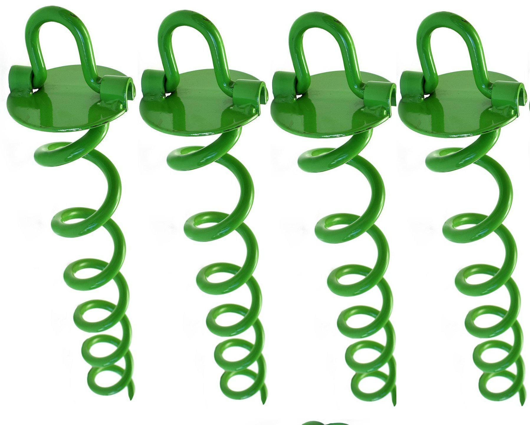 Ashman 16 Inch Spiral Ground Anchor Green Color - Ideal for Securing Animals, Tents, Canopies, Sheds, Car Ports, Swing Sets (Pack of 4) by AshmanOnline