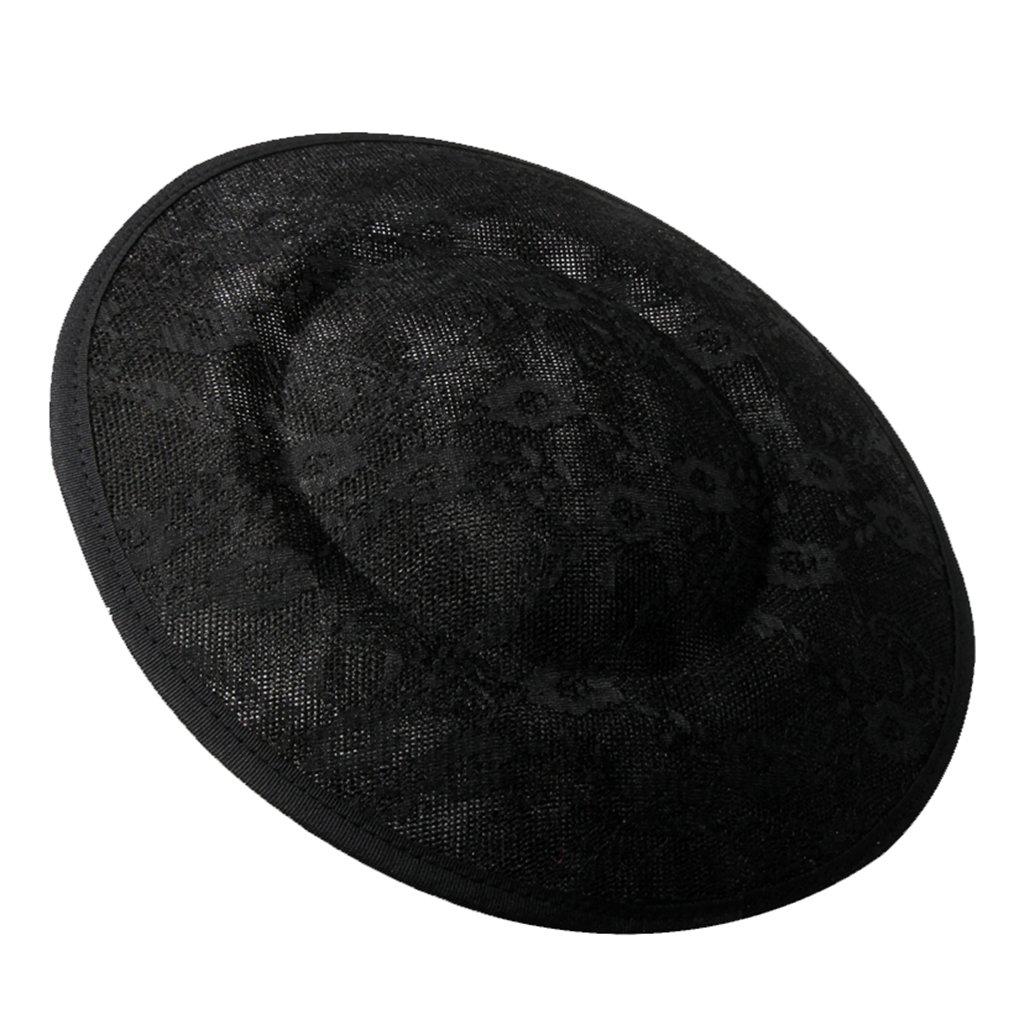 perfk Sinamay Encaje de Mujer Fascinator DIY Hat Millinery Base Accesorios de Bricolaje - Blanco, 15cm