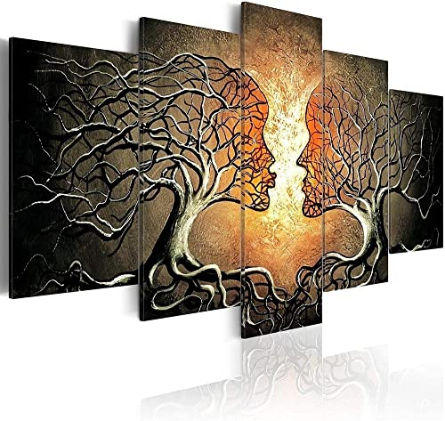 AWLXPHY Decor-Large Abstract Canvas Wall Art Silver and Black Set Lover Kiss Trees Painting Framed 5 Panel