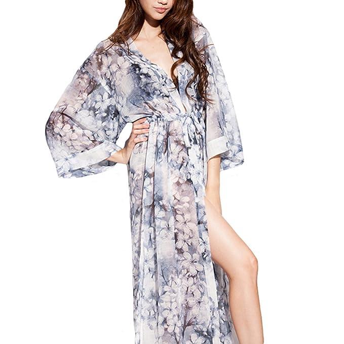MERRYHE Camisones De Impresión De Chifón Sexy Para Mujer Camisones De Noche De Boda Robes Vestido Camisón Largo Para El Hotel De Spa Sleeper: Amazon.es: ...