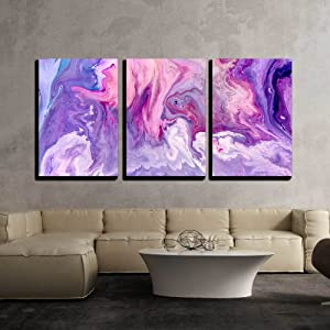 wall26 - 3 Piece Canvas Wall Art - Abstract Purple Paint Background. Acrylic Texture with Marble Pattern - Modern Home Art Stretched and Framed Ready to Hang - 24