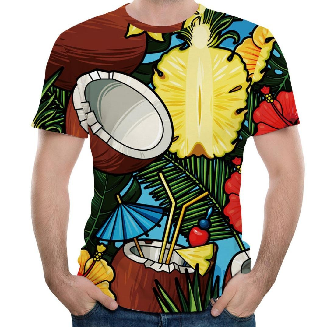 Allywit Mens Fashion Casual Short Sleeve Hawaiian Tee Beach T Shirts Big and Tall