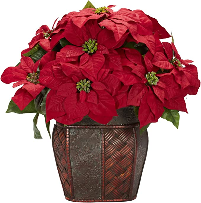 Nearly Natural 1264 Poinsettia With Decorative Vase Silk Flower Arrangement Red Home Kitchen