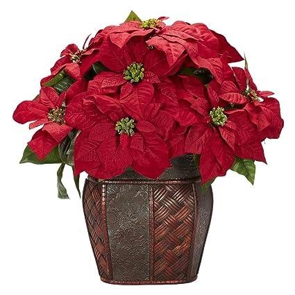 amazon com nearly natural 1264 poinsettia with decorative vase silk